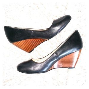 Cole Haan Black Leather Wedges - NWOT